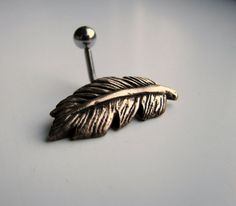 feather belly button ring
