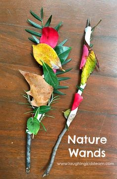 Nature wands or swords are simple to make and great for outdoor play with kids - Laughing Kids Learn