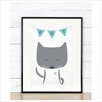 Plakat poznajmy zwierzęta - Kot, A4, dodatki - plakaty, ilustracje, obrazy - grafika