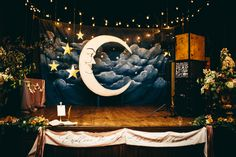 Glam LA Wedding as seen on Style Me Pretty! Fall reception ideas with Archive Rentals | Moon backdrop