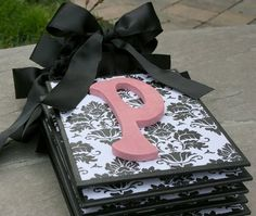 Black and white damask nursery letters. Letters need to be purple instead of pink, but really like the idea!