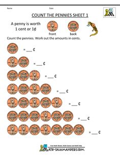 Printables Free Money Math Worksheets Printable 2nd grade math worksheets money free counting count the pennies 1