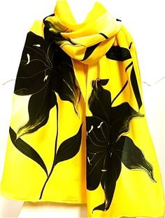 Hand painted yellow silk scarf with lily Scarves with by EwaGrol, zł149.00