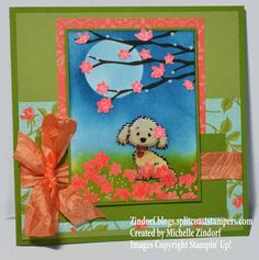 Hand stamped Spring Pup Stampin' Up! Card created by Michelle Zindorf - Bella & Friends, Colorful Seasons Boy Cards, Kids Cards, Pretty Cats, Pretty Kitty, Up Dog, Girl And Dog, Animal Cards, Cards For Friends, Flower Basket