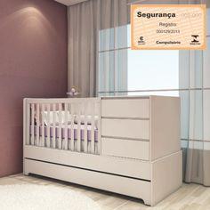 Berço com cama Auxiliar e Cômoda Baby Mel Branco Laca Fosco e Sistema Antirrefluxo – Casatema Inspir - CasaTema