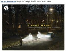 Road safety awareness advertisement. Pedestrian reflectors.