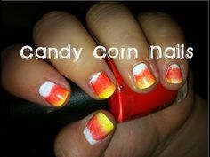 How to Paint an Easy Simple Halloween Candy Corn Nail Art Gradient - YouTube
