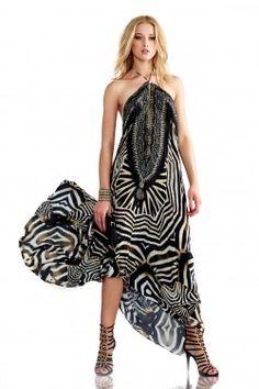 Black and White Dress in Stripes Print Zebra