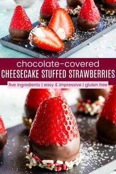 Chocolate Covered Cheesecake Stuffed Strawberries - a quick and easy no bake dessert recipes that everyone will love! Only five ingredients, gluten free, and you can dress them up with sprinkles, chopped nuts, graham cracker crumbs, and more. #chocolate #valentinesday #glutenfreedessert