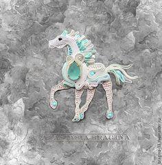 """Броши ручной работы. Ярмарка Мастеров - ручная работа. Купить Сутажная брошь"""" Рожденная в ночи"""". Handmade. Лошадь, лошадка"""