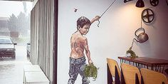 Ernest Zacharevic is a young Lithuania-born artist who is making quite some noise on the streets of George Town, Penang with his fresh approach to graffiti. 3d Street Art, Amazing Street Art, Street Art Graffiti, Street Artists, Wall Street, Amazing Art, Awesome, George Town, Art Moderne