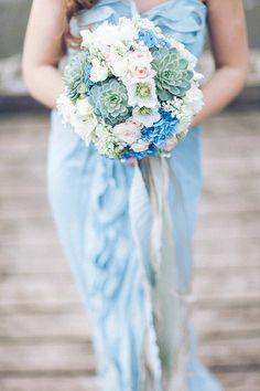 Blue, pink, white and green wedding bouquet @weddingchicks