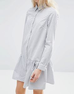 Image 3 of ASOS Shirt Dress with Frill Hem in Stripe