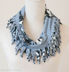 Dove Grey Abstract Flower Short Knotted Cowl