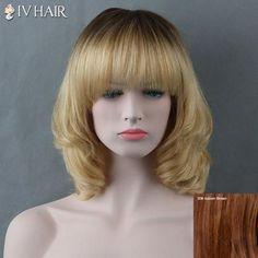 Medium Curly Full Bang Siv Human Hair Wig