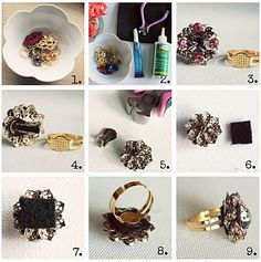 make cocktail rings out of vintage clip on earrings