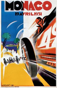 Monaco Grand Prix April 1931 advertising poster reproduction