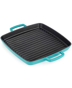 Enjoy the great outdoors indoors with this Martha Stewart Collection enameled cast iron grill pan. The black enamel interior means the pan is ready to go right out of the box, with no seasoning. Tiffany Blue Kitchen, Turquoise Kitchen, Martha Stewart Kitchen, Cast Iron Grill Pan, Mason Jar Kitchen, Indoor Grill, Kitchen Shop, Kitchen Decor, Cast Iron Cookware