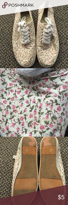 BOGO free all items Cream colored with pink flowers. Shows some wear on the inside and the bottoms, but still in great condition Mossimo Supply Co Shoes Sneakers