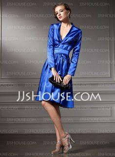 A-Line/Princess V-neck Knee-Length Charmeuse Cocktail Dresses With Ruffle (016013818) - JJsHouse