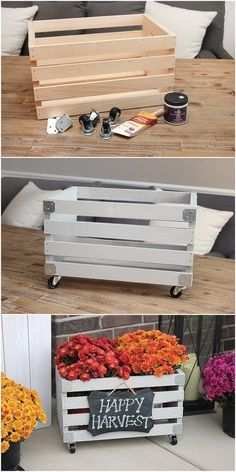 DIY Crate Planter. Get some vintage wooden crates and create a front-porch planter box with a bit of working skills. Vintage Wooden Crates, Front Porch Planters, Planter Boxes, Vegetable Garden, Fall, Vegetables, Vintage Wood Crates, Veg Garden, Autumn