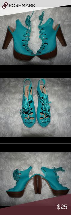 Lace up heels Pretty lace up sandal heels, with a thick heel for comfort. Great for summer and spring. Breckelles Shoes Heels