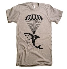 Shark paratrooper custom print. [DESCRIPTION] We have sizes S-2XL. Graphic will be hand screen printed on a mens super soft 100% cotton or poly cotton