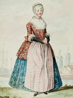 """1770s - 18th century - woman's outfit with mixed print fabrics (jacket in floral, skirt in a different floral, apron in plaid/checks, and cap in floral) - From """"An album containing 90 fine water color paintings of costumes."""" Turin : [s.n.] , [ca.1775]. In the collection of the Bunka Fashion College in Japan. Underneath the illustration is handwritten in pencil """"North Holland.""""  - Netherlands - Dutch."""