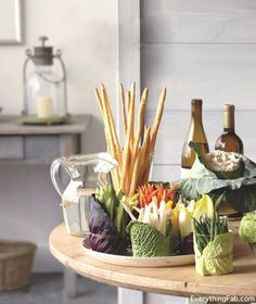 Great way to dress up plain cups or jars for serving crudities.