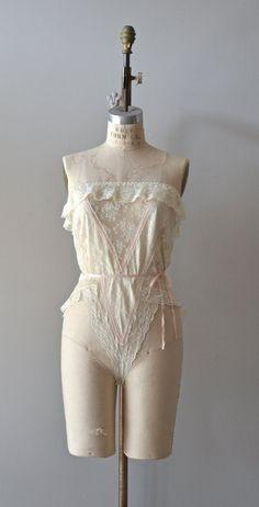 vintage lingerie / 1970s lace romper / Jezebel by DearGolden