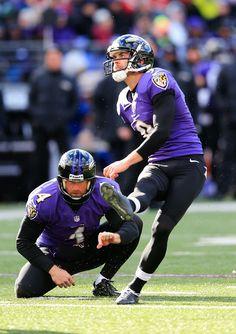 Kicker Justin Tucker #9 and holder Sam Koch #4 of the Baltimore Ravens follow Tucker's second field goal against the New York Jets