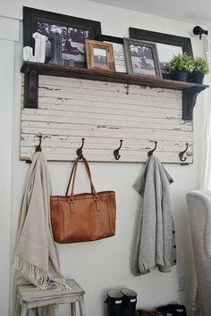 DIY Rustic Entryway Coat Rack. Entryway Coat Hooks, Entry Coat Rack, Diy Coat Hooks, Rustic Coat Hooks, Hanging Coat Rack, Wooden Coat Rack, Coat Rack Shelf, Shelf Hooks, Diy Coat Rack