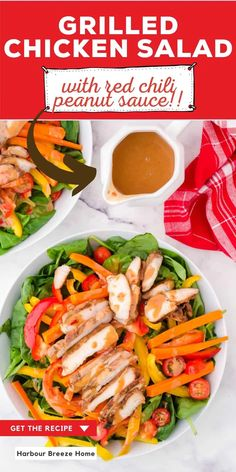 Loaded with colorful veggies, sliced grilled chicken, and leafy greens, this salad is topped with the most delicious sweet & spicy red chili peanut sauce. It's a quick and easy leftover grilled chicken recipe! Grilled Chicken Salad, Grilled Chicken Recipes, Healthy Weeknight Meals, Easy Meals, Sweet Chili, Red Chili, Crockpot Recipes, Healthy Recipes, Easy Recipes