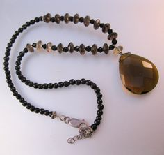 $40.00 Vintage Faceted Smokey Quartz Beaded Necklace with Faceted Topaz Pendant Sterling Silver Jewelry Jewellery by BrightEyesTreasures on Etsy