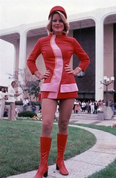Pacific Southwest Airlines uniform, 1973--there actually was a costume very close to this one, but just as short!