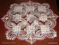 Hi Friends, This is the kolam that i made for Avani Avittam. It was not fully dried. Many of you would have seen this design before as I have taken it from Mangaiyar Malar. Rangoli Patterns, Rangoli Kolam Designs, Rangoli Designs With Dots, Kolam Rangoli, Arabic Mehndi Designs, Beautiful Rangoli Designs, Mehandi Designs, Floor Art, Floor Painting