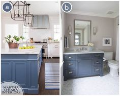 The color used in A is Benjamin Moore Van Deusen Blue and in B Benjamin Moore French Beret 1610 Blue Kitchens, Van Deusen Blue, Blue Kitchen Cabinets, White Home Decor, Trendy Kitchen, Blue Bathroom, French Country Bathroom, White Rooms, Kitchen Cabinet Colors