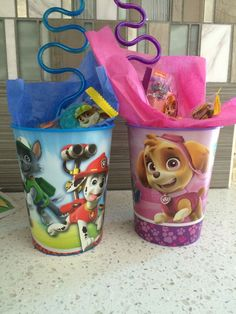 """Thank You"" cups for the children going to my son's 3rd Birthday Party stuffed with candy, mini favors, a straw and a Thank You card. Theme: Paw Patrol"