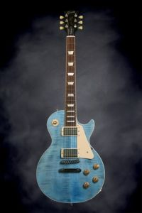 Gibson Les Paul Traditional - Ocean Blue | Sweetwater.com | Solidbody Electric Guitar with Non-chambered Mahogany Body, Figured Maple Top, Mahogany Neck, Bound Rosewood Fretboard, 2 Humbucking Pickups, and Hardshell Case - Ocean Blue