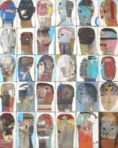"""""""Crowd Work"""" by Scott Bergey 30 x 24 x inches Mixed media collage/painting on canvas. Look for it in my Etsy shop. Painting Collage, Mixed Media Painting, Collage Art, Color Collage, Art Paintings, Abstract Portrait, Portrait Art, Abstract Art, Art Brut"""