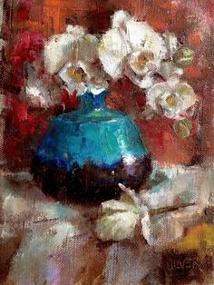 Turquoise and Orchid, painting by artist Julie Ford Oliver