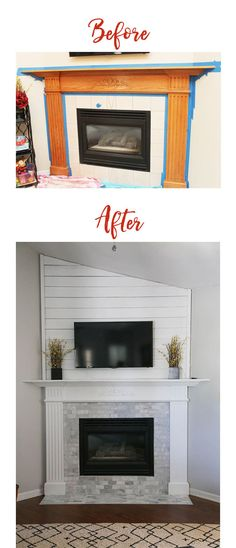 Before and After fireplace/mantle update. Using shiplap, paint and updated tile, this fireplace is now a focal point in our home! fireplace makeover before after Mantel Makeover - Thriving Home Updating House, Home, Home Fireplace, Corner Fireplace Makeover, Wood Fireplace, Farmhouse Fireplace, Paneling Makeover, Fireplace, Diy Fireplace