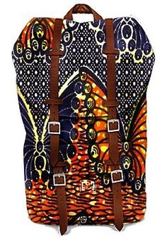 African print backpack with leather straps