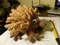Echidna - free crochet pattern by Jazmo Tennant Crochet Animal Patterns, Stuffed Animal Patterns, Crochet Patterns Amigurumi, Crochet Animals, Crochet Toys, Bear Patterns, Crocheting Patterns, Stuffed Animals, Knitting Patterns