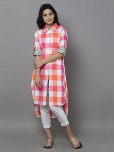 Fashion dresses - Pink Off White Cotton Check Shirt Salwar Designs, Kurti Neck Designs, Kurta Designs Women, Kurti Designs Party Wear, Blouse Designs, Stylish Dresses, Fashion Dresses, Kurta Style, Kurti Patterns