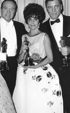 "Elizabeth Taylor - Best Actress Oscar for ""Butterfield 8"" with Burt Lancaster - Best Actor Oscar for ""Elmer Gantry"" 1960"