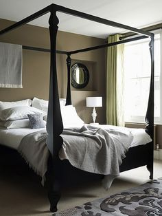 MadeByGirl: Design: The Four Poster Bed - nice styling and colour scheme but not keen on the curtains, mirror or the fabric draped at the head of the bed.