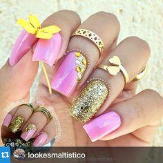 """#Repost @lookesmaltistico with @repostapp.・・・ⓛⓞⓞⓚ ⓑⓨ @MoniketesRosa 〰 Inspirado em um dos meus primeiros looks que postei aqui! (Foto Menor) ┤ ┤ ↷ Esmalte 〰 YNC ┤ ↷ Cor 〰 Hortense ┤ ↷ Glitter 〰 Esmalte Golden Gift + Purpurina + Glitter Dourado ┤ ┤ ┤↷ #LookEsmaltistico ┤ ⇲"" Photo taken by @alexandravicunaperry on Instagram, pinned via the InstaPin iOS App! http://www.instapinapp.com (03/01/2015)"