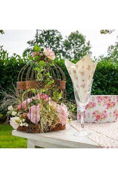 Cage à Oiseaux en métal vieilli - Volière de Décoration -  Déco Mariage - Ambiance Extérieur Terrasse Chic - Pot de Fleurs
