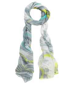 Monica Vinader - Yellow and Grey Agate Print Modal Scarf